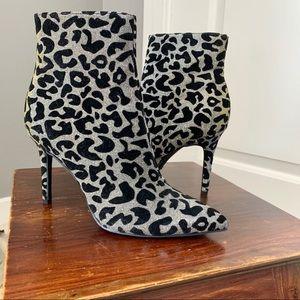 Thalia Sodi iridescent leopard print bootie